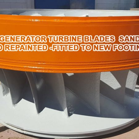 POWER GENERATOR TURBINE BLADES SANDBLATED AND REPAINTED -FITTED TO NEW FOOTINGS (3)
